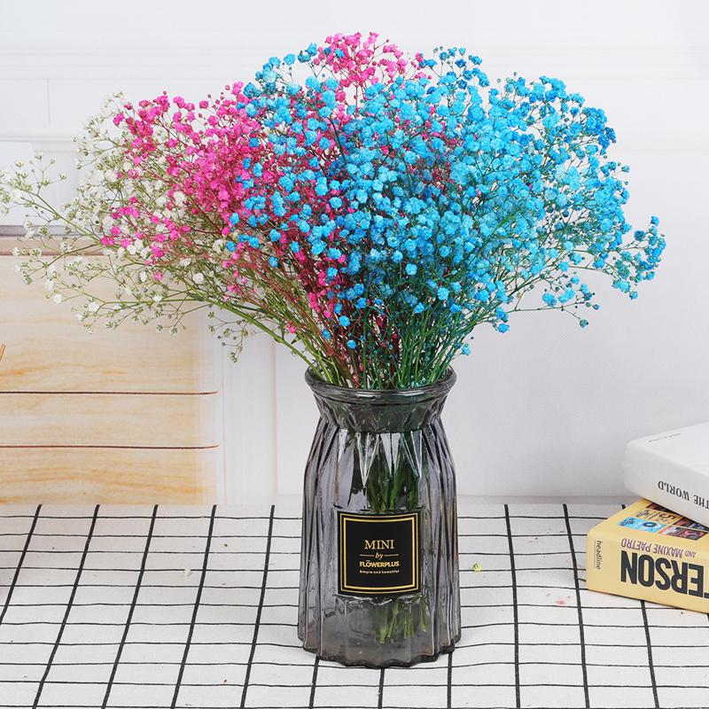 9.90元包邮天然干花真花蓝色满天星干花花束带花瓶家庭装饰摆件客厅摆设插花