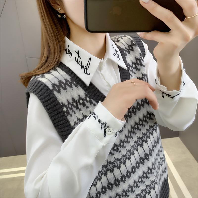 提花宽松马甲针织背心女外穿韩版外套2021年春季新款V领毛衣洋气