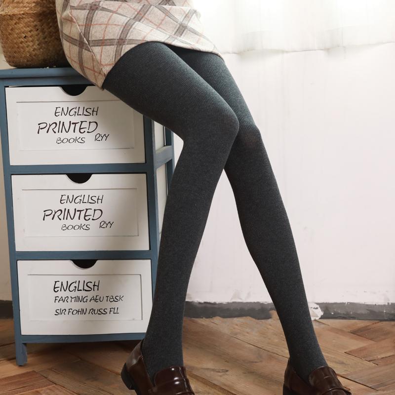 【官方直营】打底裤袜女秋冬加绒瘦腿袜外穿螺纹竖条纹显瘦连裤袜