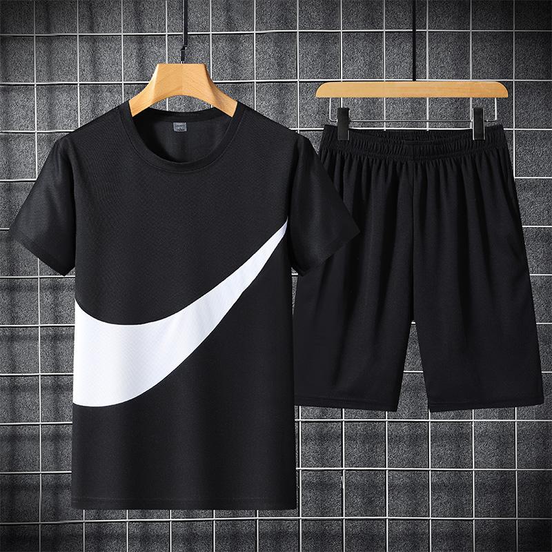 GKO(服饰)短袖t恤夏季帅气休闲运动套装潮牌薄5分袖短裤两件套