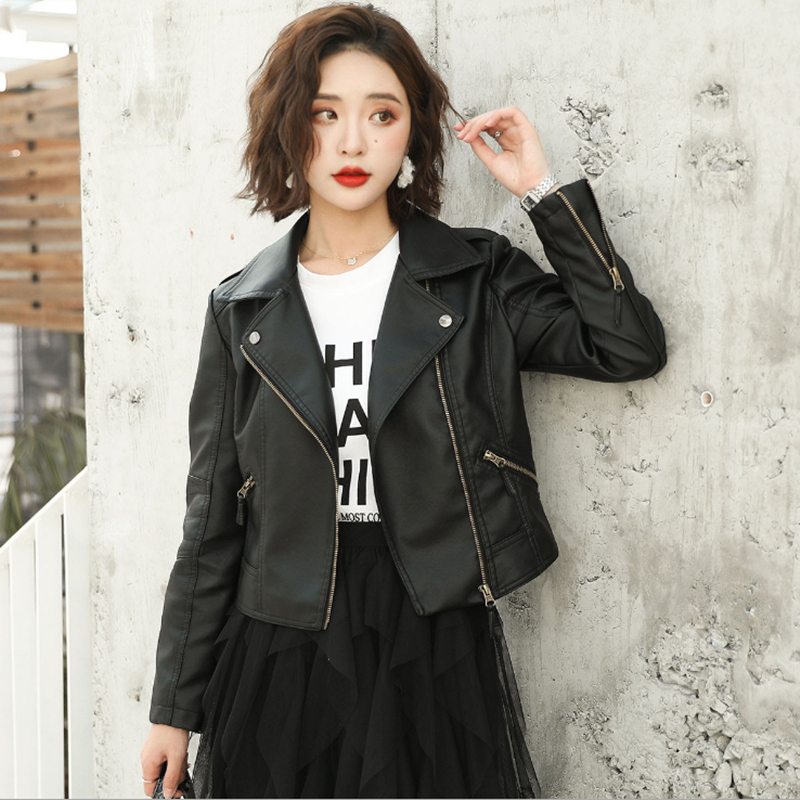 New Haining Leather Women's large Korean slim suit jacket plus plush short locomotive coat trend in early spring 2020