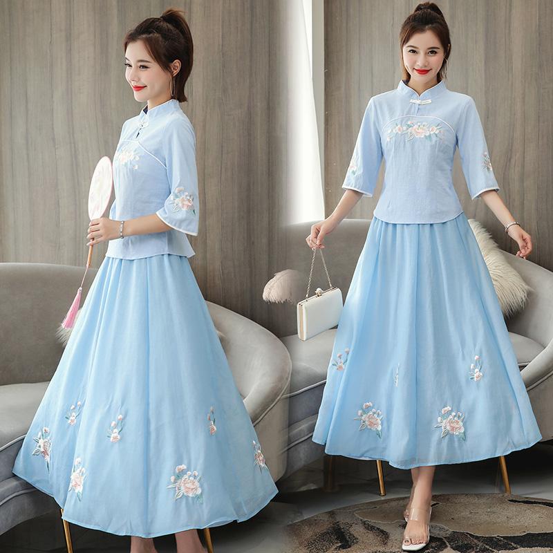 限5000张券中国风套装2019夏季新款两件套裙子