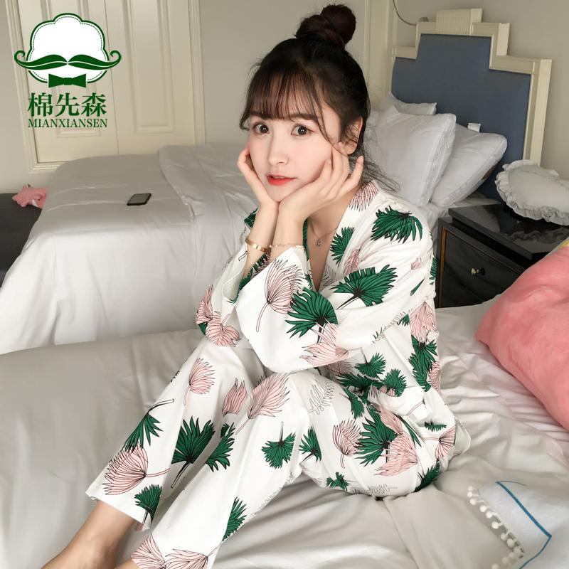 日式和服睡衣女秋夏纯棉长袖甜美可爱春秋季家居服套装薄款可外穿