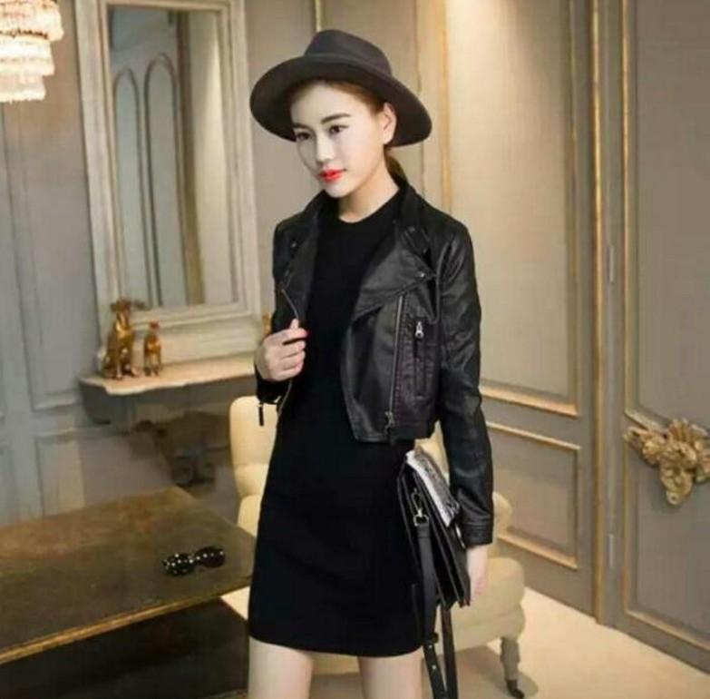 2021 spring new slim Motorcycle Leather Womens ultra short small coat womens PU jacket Korean high waist