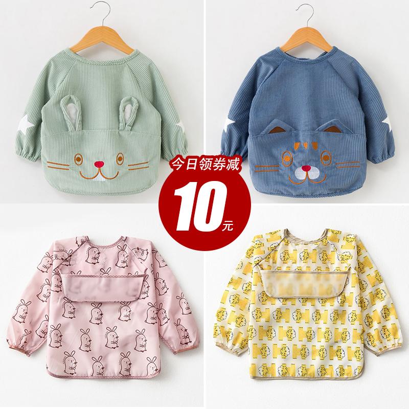 直播儿童罩衣防水长袖反穿衣宝宝防脏饭兜衣小孩男女围裙罩衫婴儿
