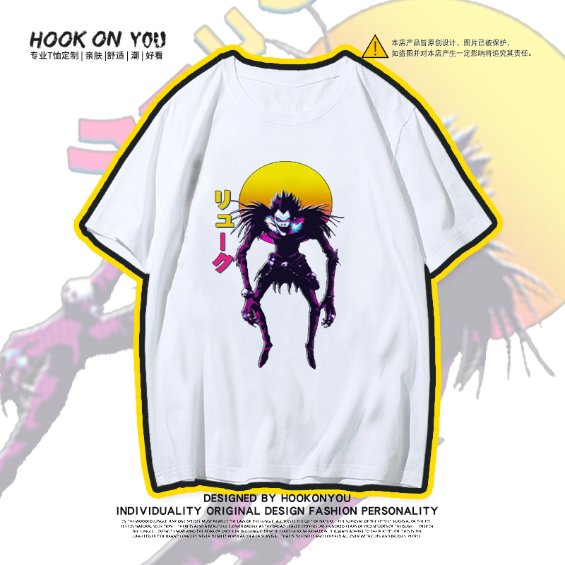 Youth boys and girls new summer death note printing animation short sleeve T-shirt lovers second wave