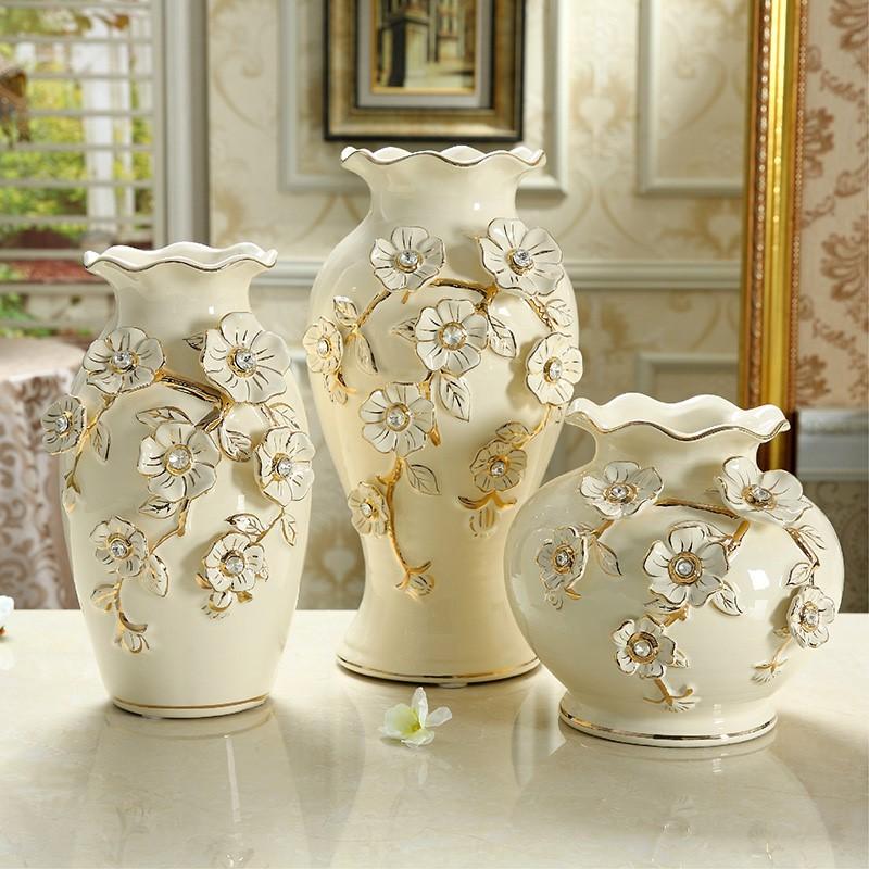 诺堡欧式陶瓷花瓶三件套摆件客厅插花花瓶家居饰品装饰结婚礼品
