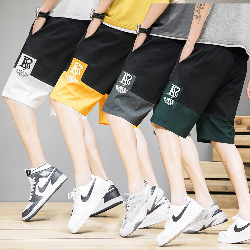 Summer thin mens shorts fashion brand trend sports casual five point beach pants men wear color matching pants