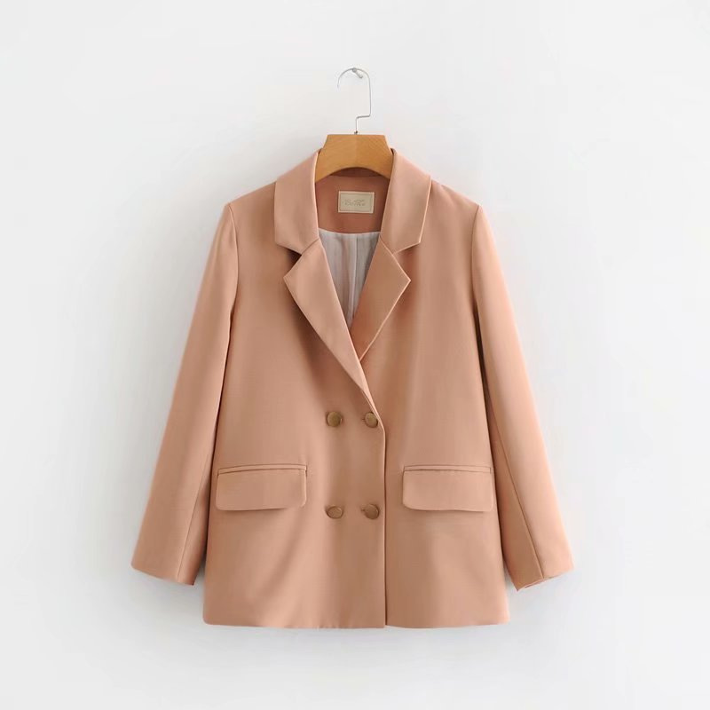 #Ze1-0212 casual suit Korean womens wholesale 2021 spring new metal double breasted jacket
