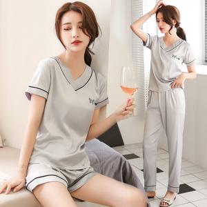 睡衣女夏季薄款冰丝短袖套装长裤性感韩版丝绸可外穿家居服两件套