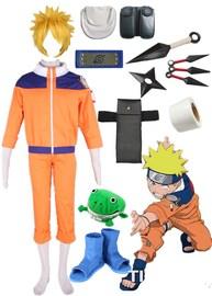 动漫COSPLAY服饰火影忍者漩涡鸣人装1代少年版COS全套配件服饰图片