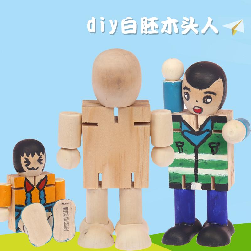 木�^人白坯DIY木制�C器人人偶�P�木偶�和�益智玩具卡通�L��涂�f