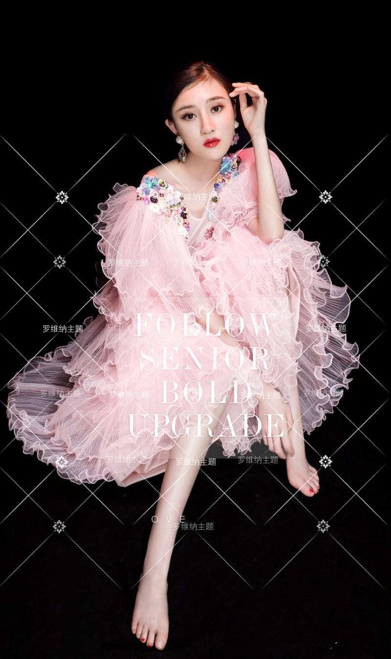 影楼写真服装新款主题婚纱内景摄影拍照粉色甜美压邹蛋糕裙礼服