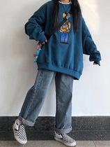 日系古着卫衣女宽松bf慵懒风秋冬韩版大款加绒加厚ins小香风外套
