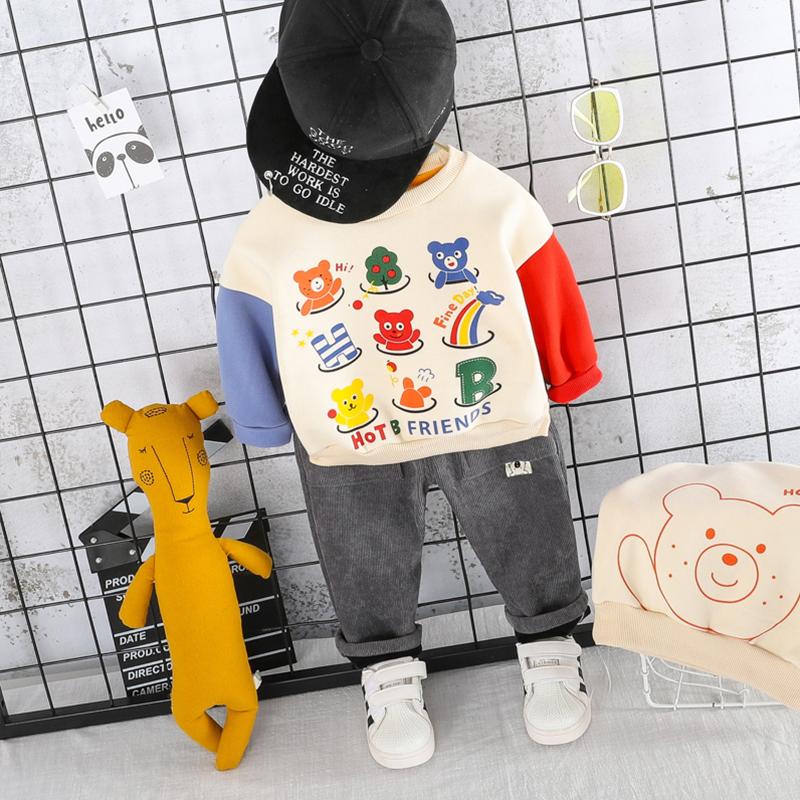 宝宝加绒套装2019秋冬装男小童加厚运动服0一1-2-3-4岁幼儿两件套(用3元券)
