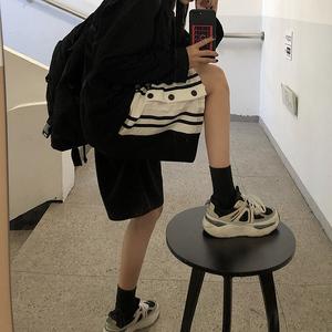 1602【官图实价】休闲裤女夏季薄款新款条纹高腰阔腿裤短裤运动裤
