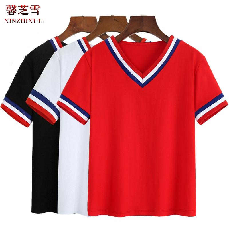 馨芝雪新品广场舞服装棉质V领上衣女休闲运动健身韩版演出T恤衫夏