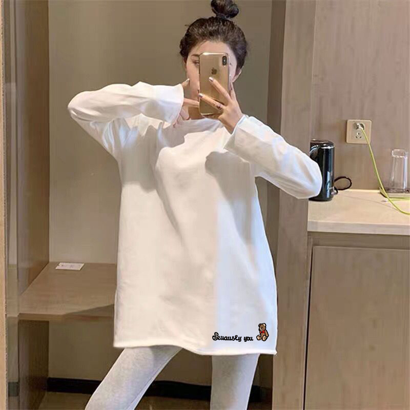 Spring 2021 new white bottoming shirt women's inner wear autumn and winter western style long-sleeved t-shirt top with velvet mid-length