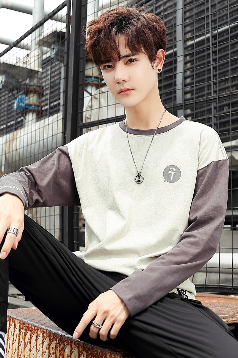 Autumn new long sleeve t-shirt mens Korean fashion round neck cotton bottomed shirt mens long T-shirt youth autumn interior