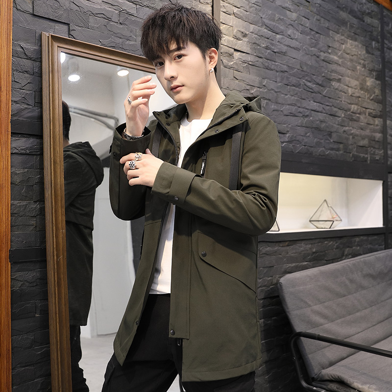 New style mens coat in spring and autumn of 2019 Korean fashion mens handsome medium and long jacket fashion brand