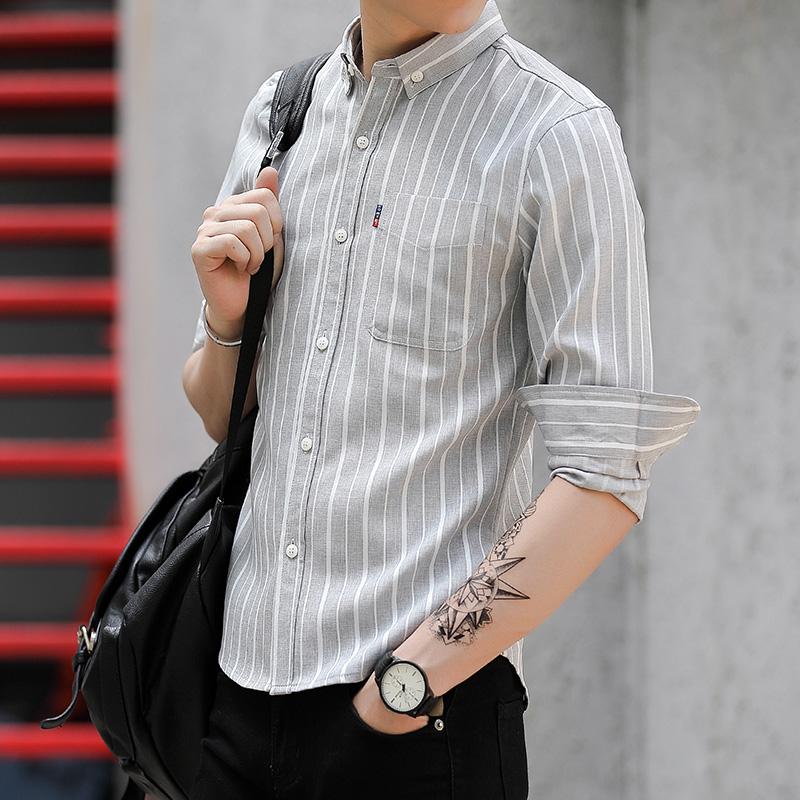 条纹长袖衬衫男士七分袖衬衣韩版潮流帅气休闲上衣服秋季薄款外套