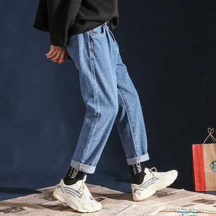 春夏季ins裤子男韩版潮流直筒牛仔裤男士宽松阔腿纯色休闲九分裤