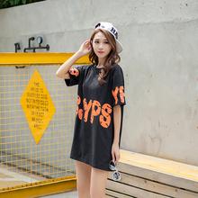 实拍夏装韩版卡通字母印花宽松大码中长款短袖t恤 纯棉95棉5氨纶
