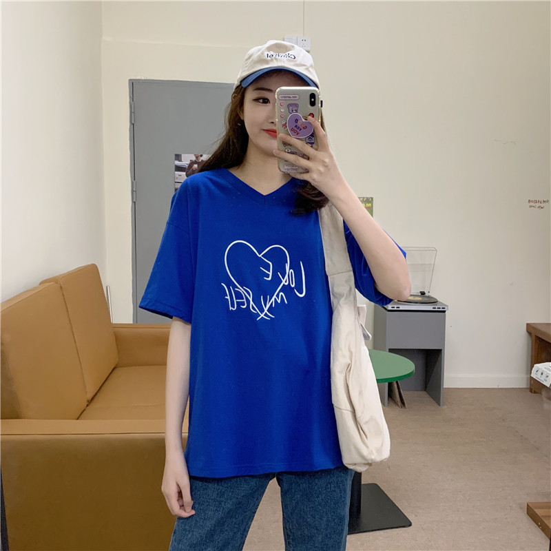 Pure cotton t-shirt female summer Korean loose and thin foreign style student versatile love embroidery large V-neck womens top