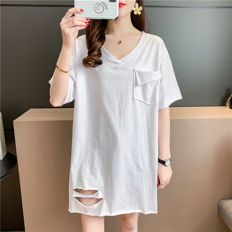 Cotton short sleeve T-shirt womens mid summer long V-neck loose large split hole net red fried street design Fashion Top