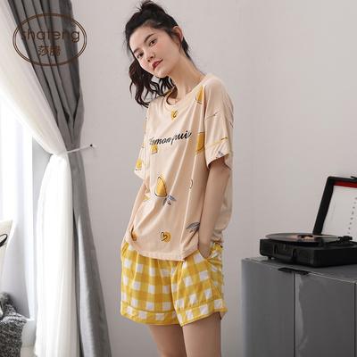 睡衣女生夏季短袖短裤纯棉薄款夏天可出门休闲格子家居服两件套装