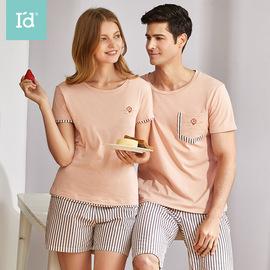爱帝情侣睡衣女纯棉短袖短袖家居服套装男夏季薄款透气外穿居家服