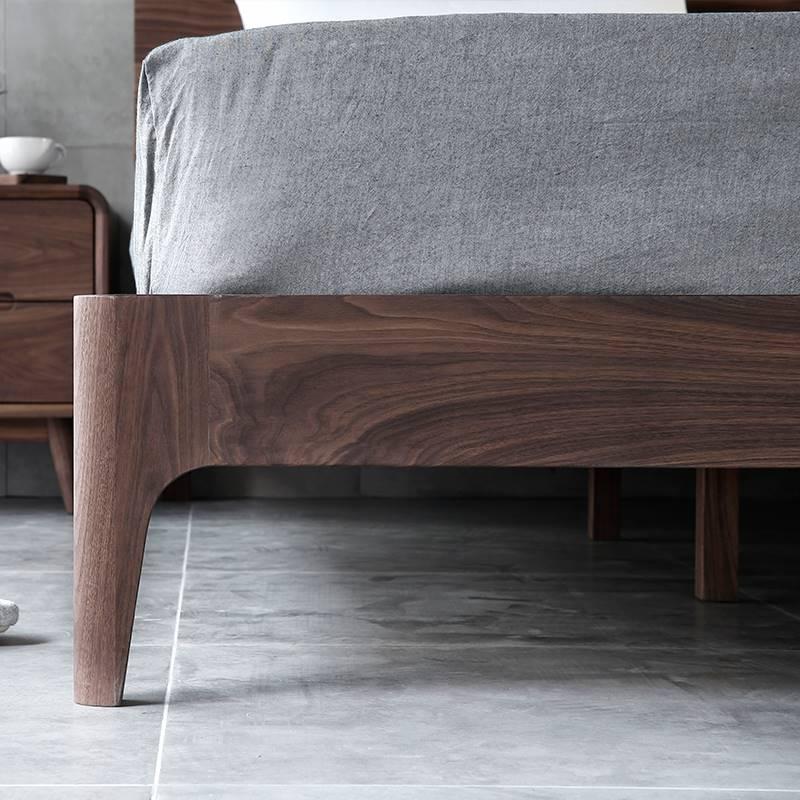 简约现美代黑胡桃木实木床双人床1.式5主卧式轻奢家具欧大纯床1.8