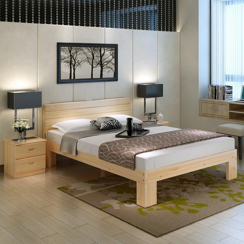 弘瀚家居实木床松木床单人床1米宽1.2 1.5 1.8米单人双人床儿童床
