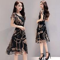 2018夏季新款女装韩版显瘦大码印花雪纺连衣裙时尚气质A字中长裙