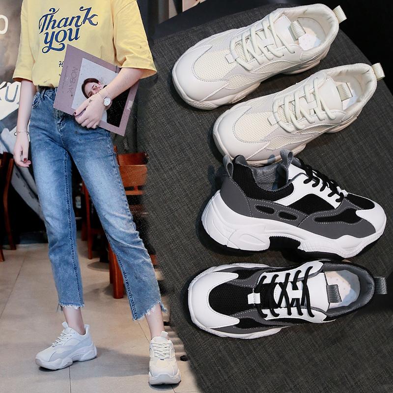 韩版女休闲老爹鞋秋季新款学生增高网布平底小白色跑步运动鞋子女(用120元券)
