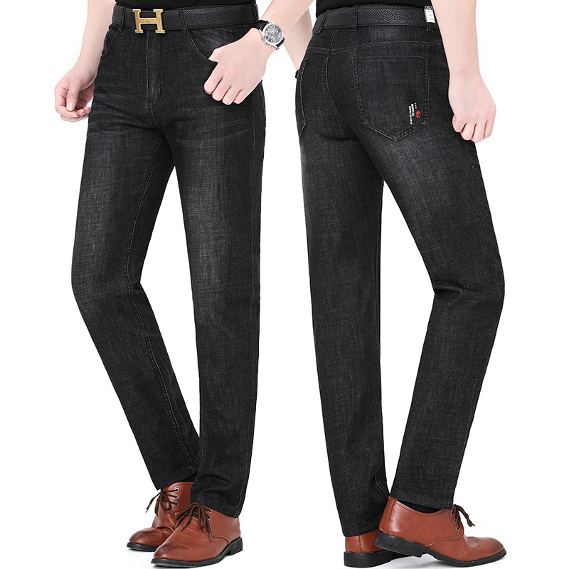 Brand new huagongzi 2021 middle aged mens fashion new jeans straight tube business leisure pants package
