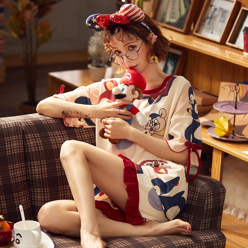睡衣女夏季短袖纯棉薄款两件套装韩版学生可爱大码春秋夏天家居服图片