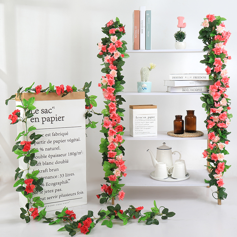 Artificial rose vine decorative wall hanging flowers indoor air conditioning pipe ceiling covering plastic flower vine winding