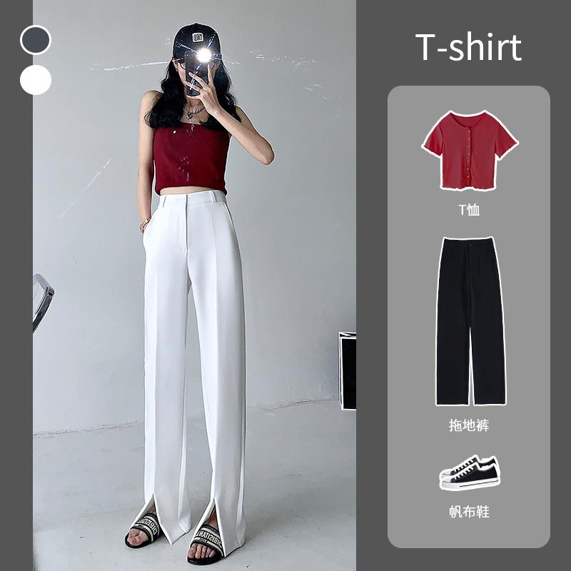 Front polyester cotton blended fabric split pants womens summer womens 2021 summer new high waist straight tube wide leg pants