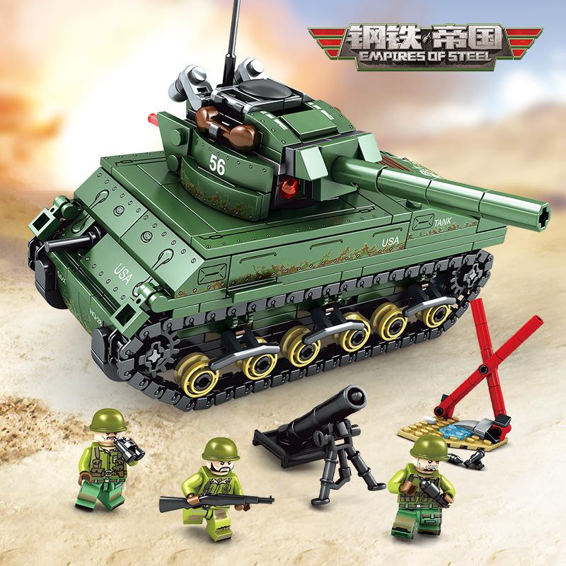 森宝101304军事钢铁帝国系列美军谢尔曼M4坦克儿童益智积木玩具