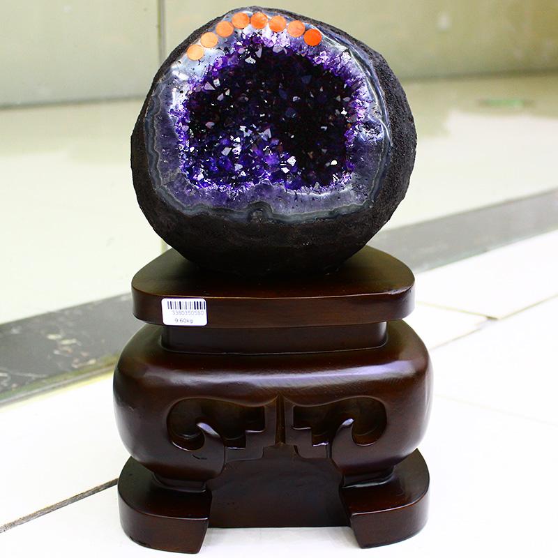 乌拉圭天然原皮紫水晶钱袋子原石紫晶洞晶簇聚宝盆开口笑办公摆件