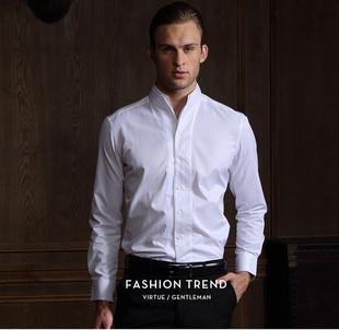 中式白色男立领长袖衬衫修身青年中山装衬衣商务春秋季富绅
