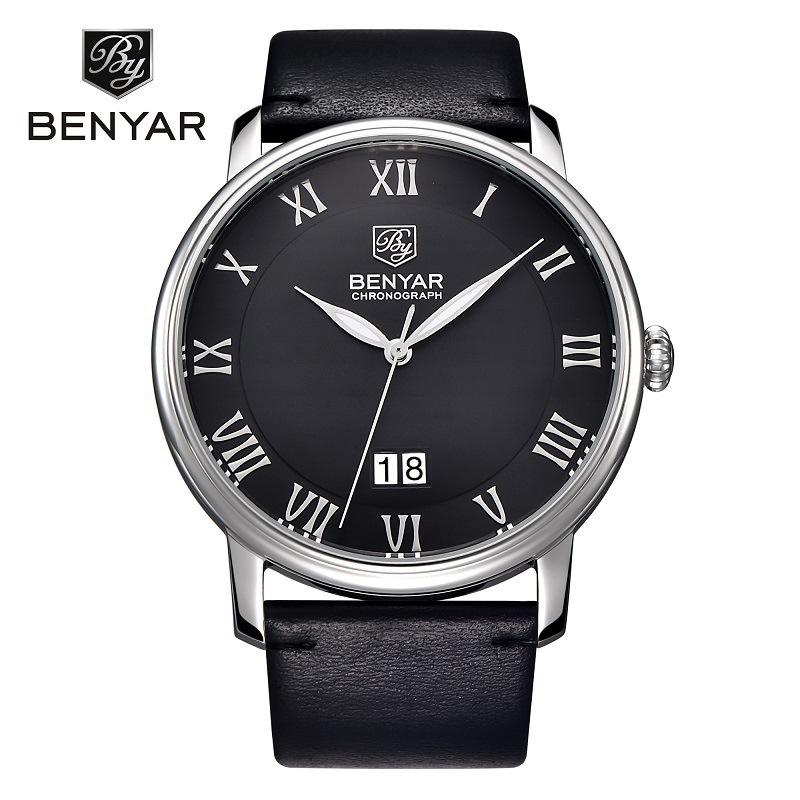 BENYAR/宾雅石英手表 时尚防水真皮表带日历男士腕表 精品名表