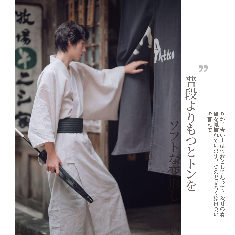 男士传统和服浴衣 日本正装�;�季古装武士长袍 杏色、纯黑套装