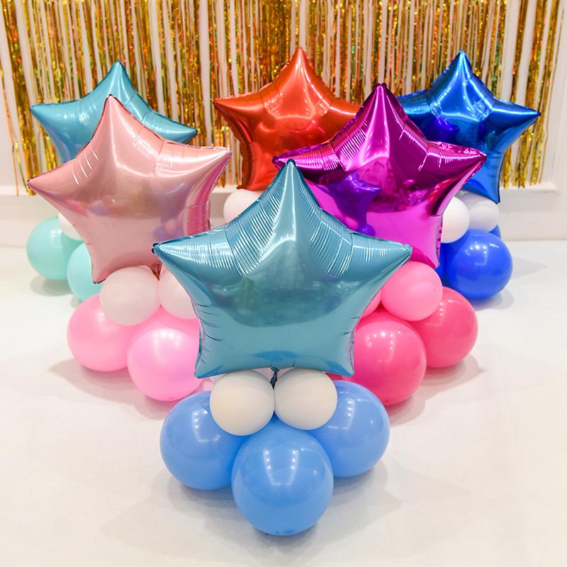 五角星铝膜气球七夕儿童生日派对布置婚房装饰商场情人节活动布置