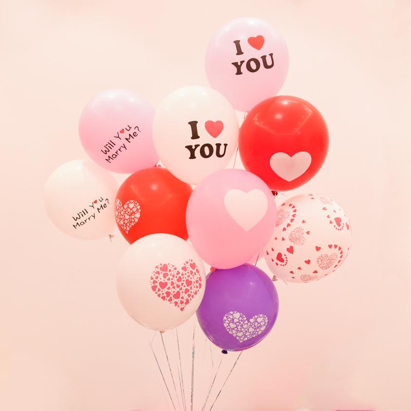 12寸心心相印氣球婚房佈置印字圖案Party白紅氣球大號加厚10個裝