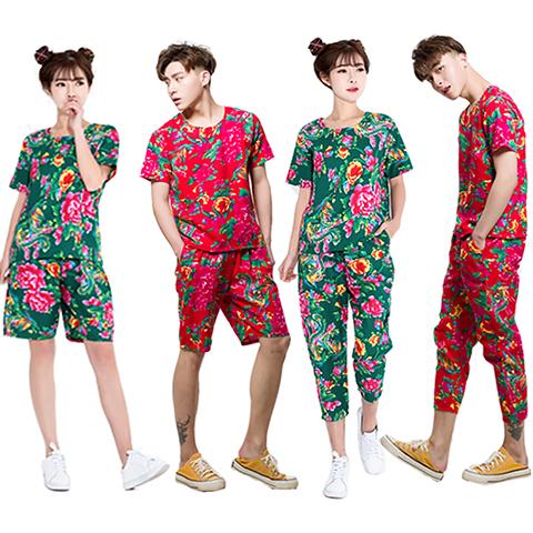 2020东北花布衣服男女个性搞笑伴娘伴郎服网红快手抖音同款九分裤