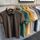 2020夏季珠地棉纯色Polo衫男士短袖上衣时尚翻领修身韩版百搭T恤
