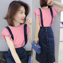 时尚套装粉色衬衫牛仔背带裙两件套欧洲站夏季女装2020新款欧货潮