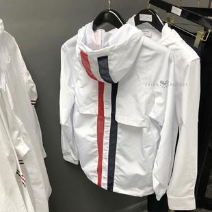 2020新款 TB男女红白蓝条纹饰条运动冲锋衣风衣夹克